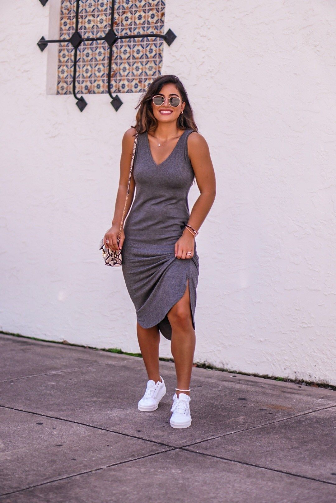 Miami Blogger Krista Perez Shares Her 5 Favorite Comfortable Everyday Dresses Via Sugarlovechic Com Dress And Sneakers Outfit Everyday Dresses Fashion [ 1616 x 1080 Pixel ]