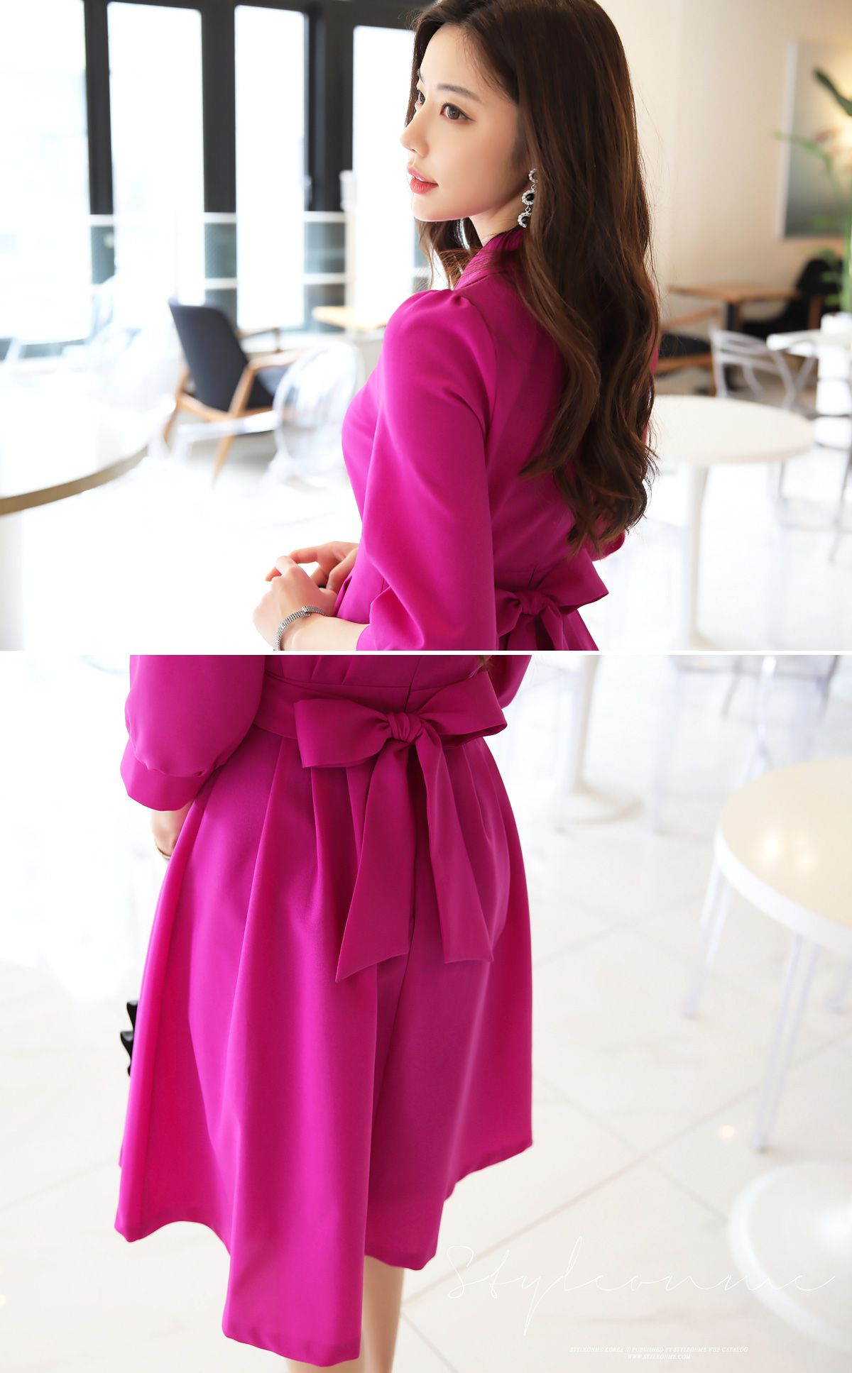Vivid Color Back Ribbon Tie Collared Dress | Shopping mall, Mall and ...