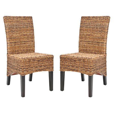 Valdosta Solid Wood Dining Chair Set Of 2 Wicker