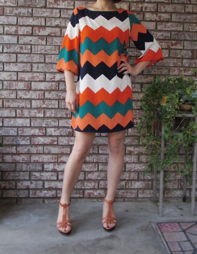 Made in USA bell sleeve Chevron Spring A line dress/tunic