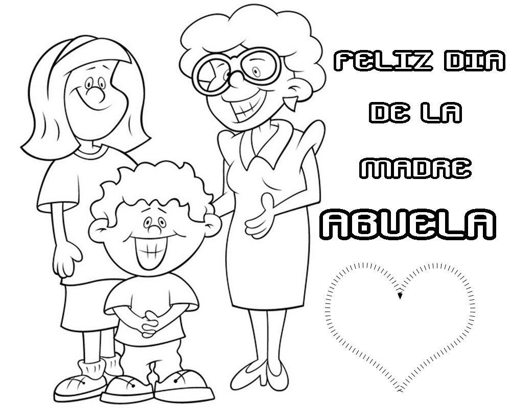 Tarjeta para colorear feliz día de la madre abuela | Imagenes y ...