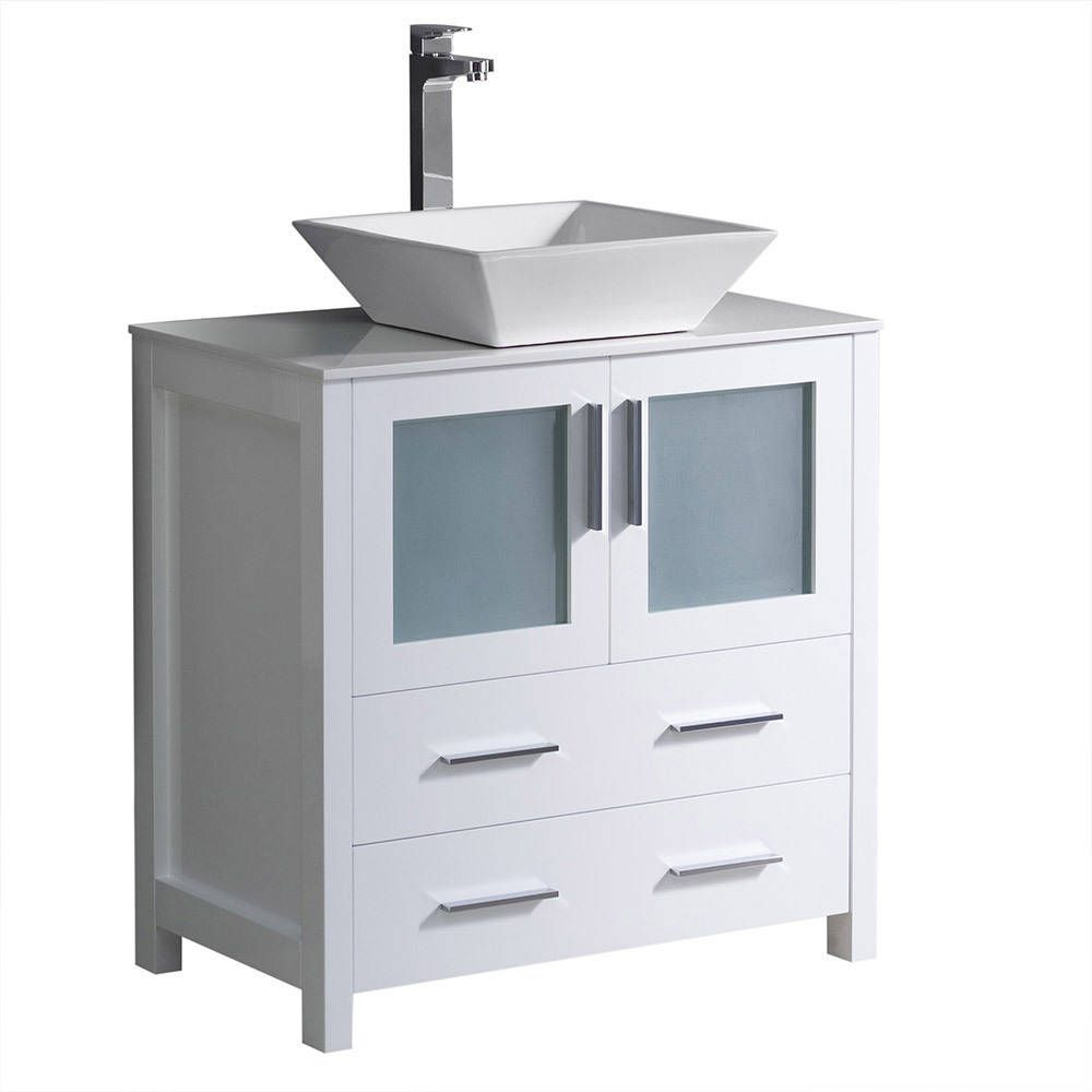 Fresca torino inch white modern bathroom cabinet with top and