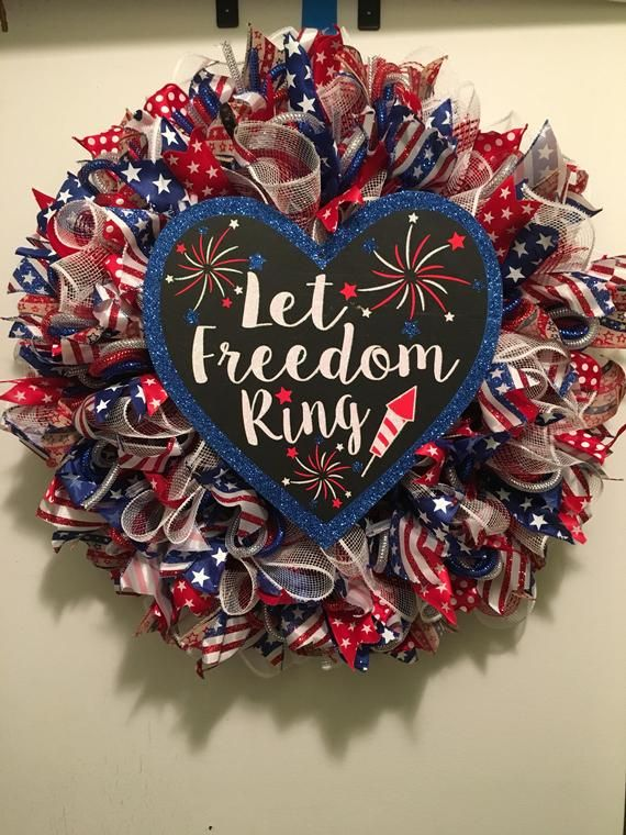 Photo of Patriotic decorative mesh wreath, July 4th wreath, let freedom ring red white blue mesh wreath