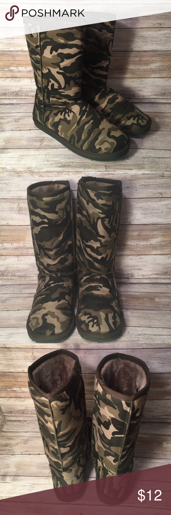 """12"""" camouflage boot w/ light olive faux fur lining 12"""" camouflage pull on boot with a thin layer of light olive green. Very lightweight boots. Worn a few times. Size 9 Shoes Winter & Rain Boots"""