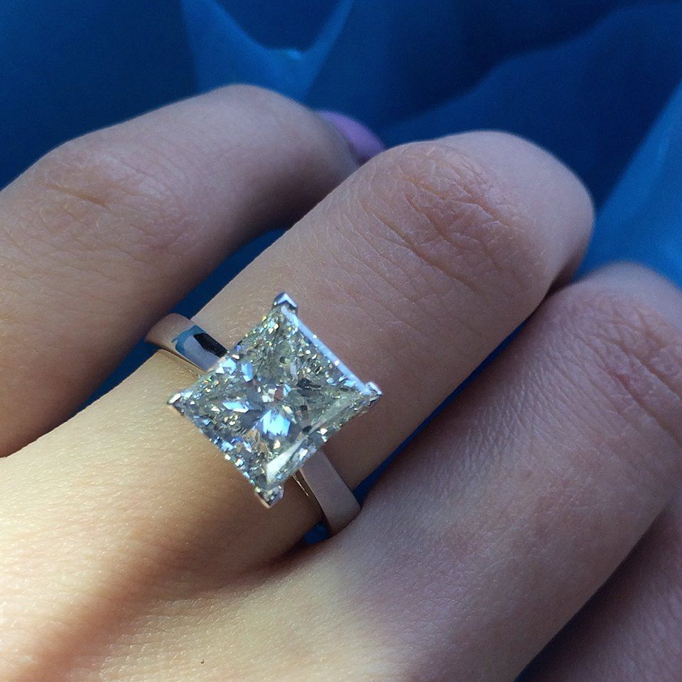 double ring white row rings princess gold in cut diamond