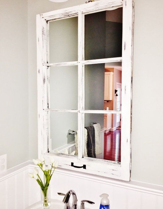 6 Pane Antique Wood Window Mirror Frame, 6 Pane Window Frame Mirror