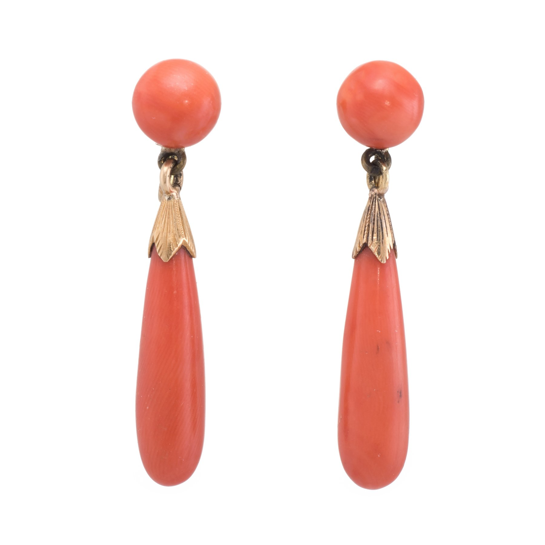 c9f334f69 Overview: Elegant pair of vintage Art Deco era earrings (circa 1920s to  1930s), crafted in 18k yellow gold. Natural coral measures 23mm x 6.5mm  (lower) and ...