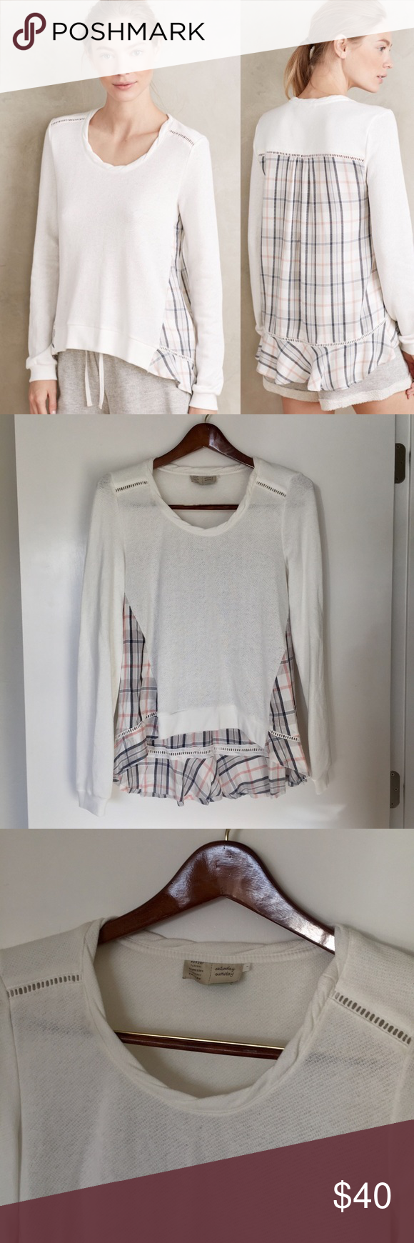 Anthropologie - Ruffled Plaid Pullover Anthropologie Ruffled Plaid Pullover by Saturday Sunday. Kinda like a sweater. Cute and comfy! Size small. Anthropologie Tops
