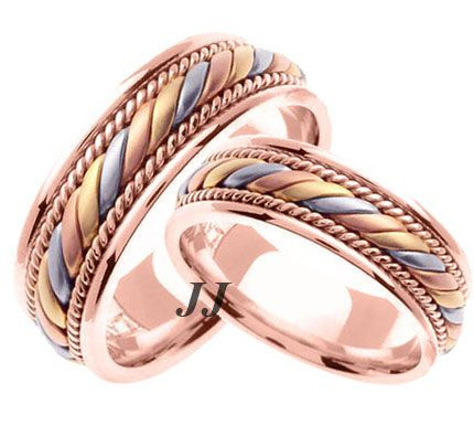 Tri Color Gold Hand Braided Wedding Band Set 7mm Tc 560cs 739 99 Diamonds Engagement Rings Bands His And Hers Sets