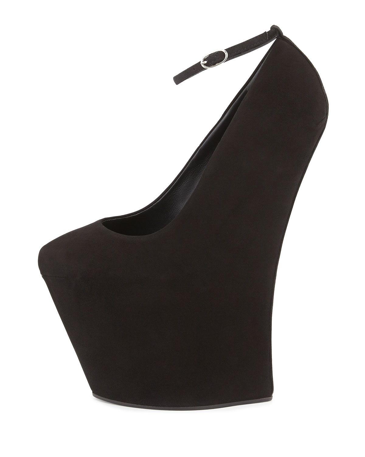 300c210cf9 Giuseppe Zanotti Suede Heel-Less Wedge Pump in Black | Lyst | The ...