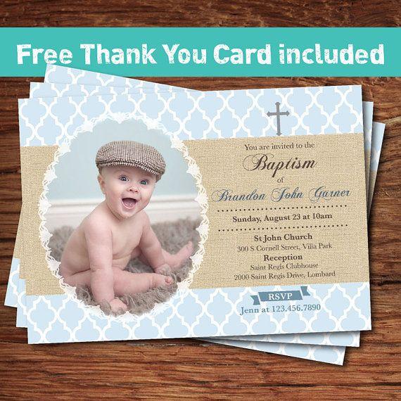 Baby boy baptism invitation. Shabby boho chic. Elegant burlap morocan window baptism invite. First communion printable digital invite. BT010