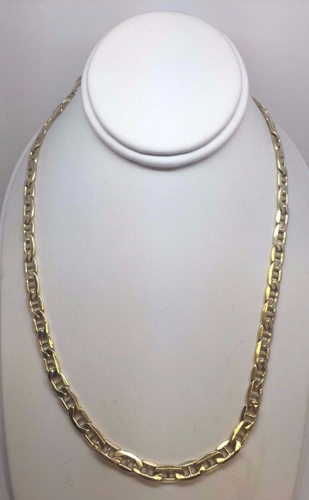 7f0862575 10K Yellow Gold Semi Solid 5.4 mm Gucci Mariner Link Necklace Chain 22