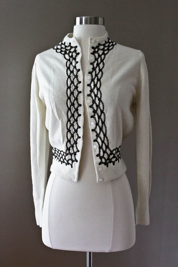 25367ff87 Ivory Vintage Cardigan Sweater Black Scallop by SalvatoCollection ...
