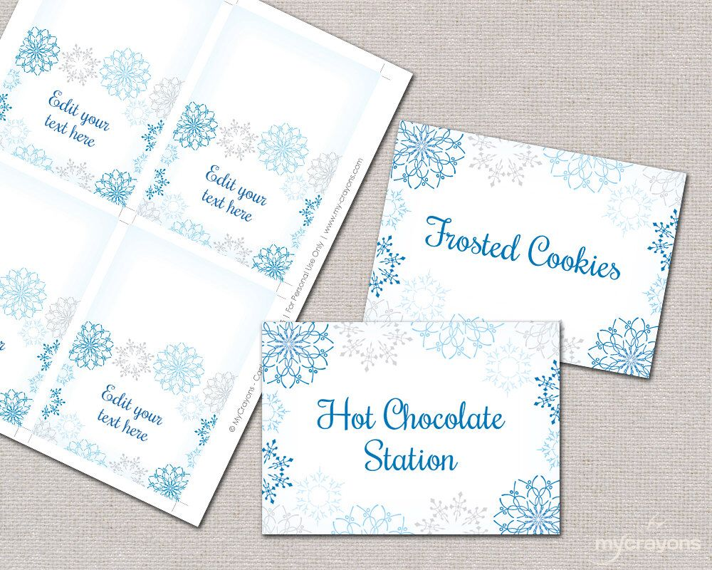 Snowflake Place Cards Food Tent Cards Diy Printable Food Etsy Printable Place Cards Tent Cards Food Tent
