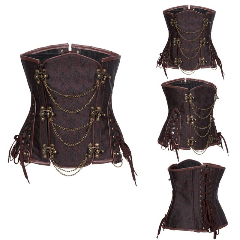 23c48fed7 Aliexpress.com   Buy Brown Brocade Gothic Corpetes E Espartilhos Sexy  Corselet Steampunk Underbust Corset Waist Training Steel Boned Bustier  Korset from ...