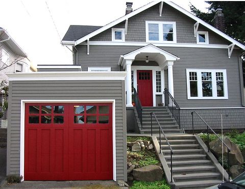 Exceptional Grey House, White Trim, Red Doors Love The Red Garage Door Also!