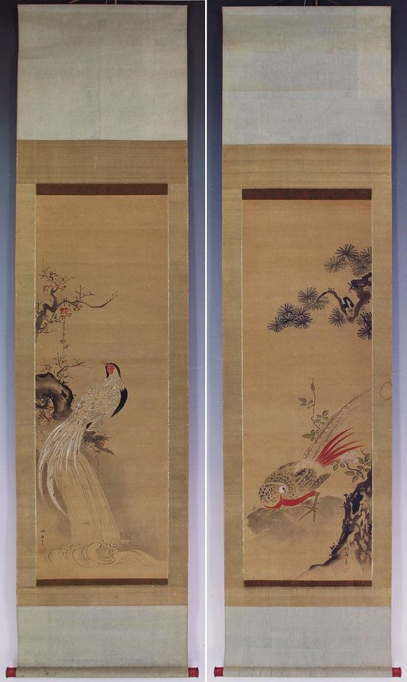 A Pair Of Antique Japanese Fine Art Wall Hanging By Sakuraantiques Art Wall Hanging Wall Art Wall Hanging