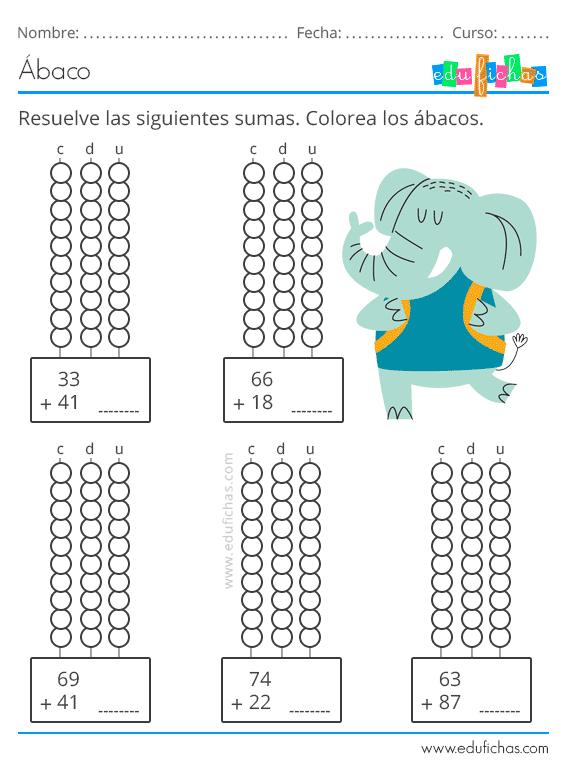 Fichas Con Abaco Actividades Para Ninos Aprender Calculo En 2020 Estrategias Para Ensenar A Leer Fichas Actividades Para Ninos