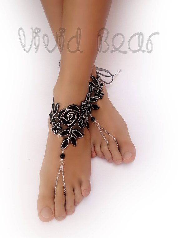 93094c2768f7 Black   Silver Lace Barefoot Sandals. Bridal Beaded Foot Jewelry. Black  embroidered organza. Silver