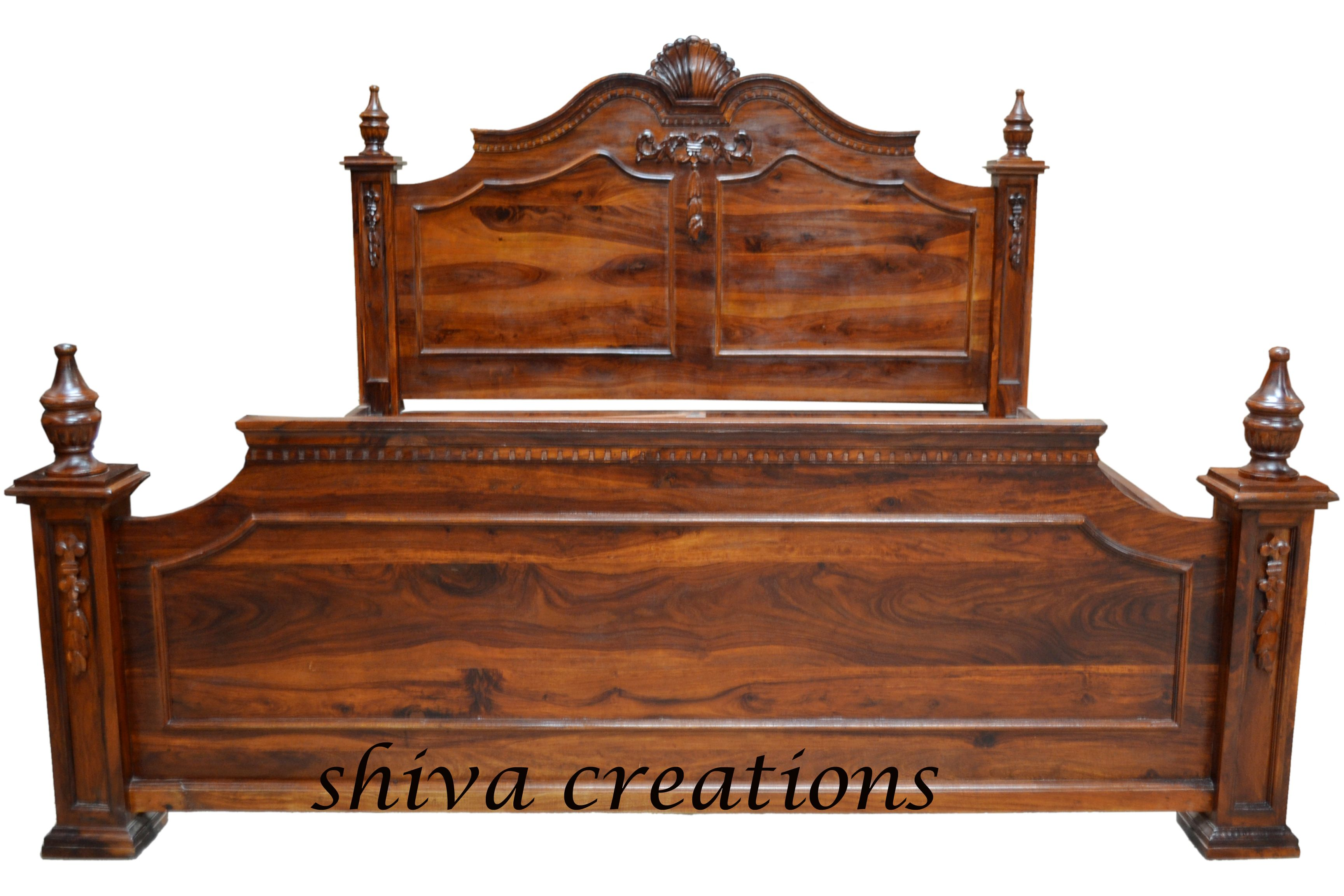 Carved Sheesham Wood Bed India