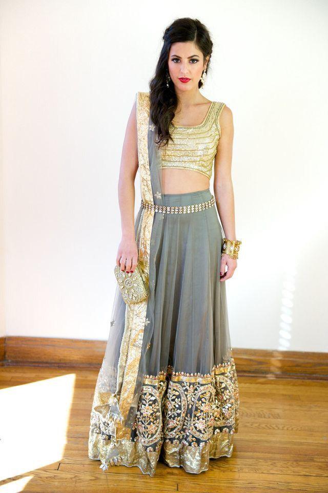 f1c4d14cd9ec38 grey with golden lehenga | ℓєнєηgαѕ | Indian fashion, Indian dresses ...