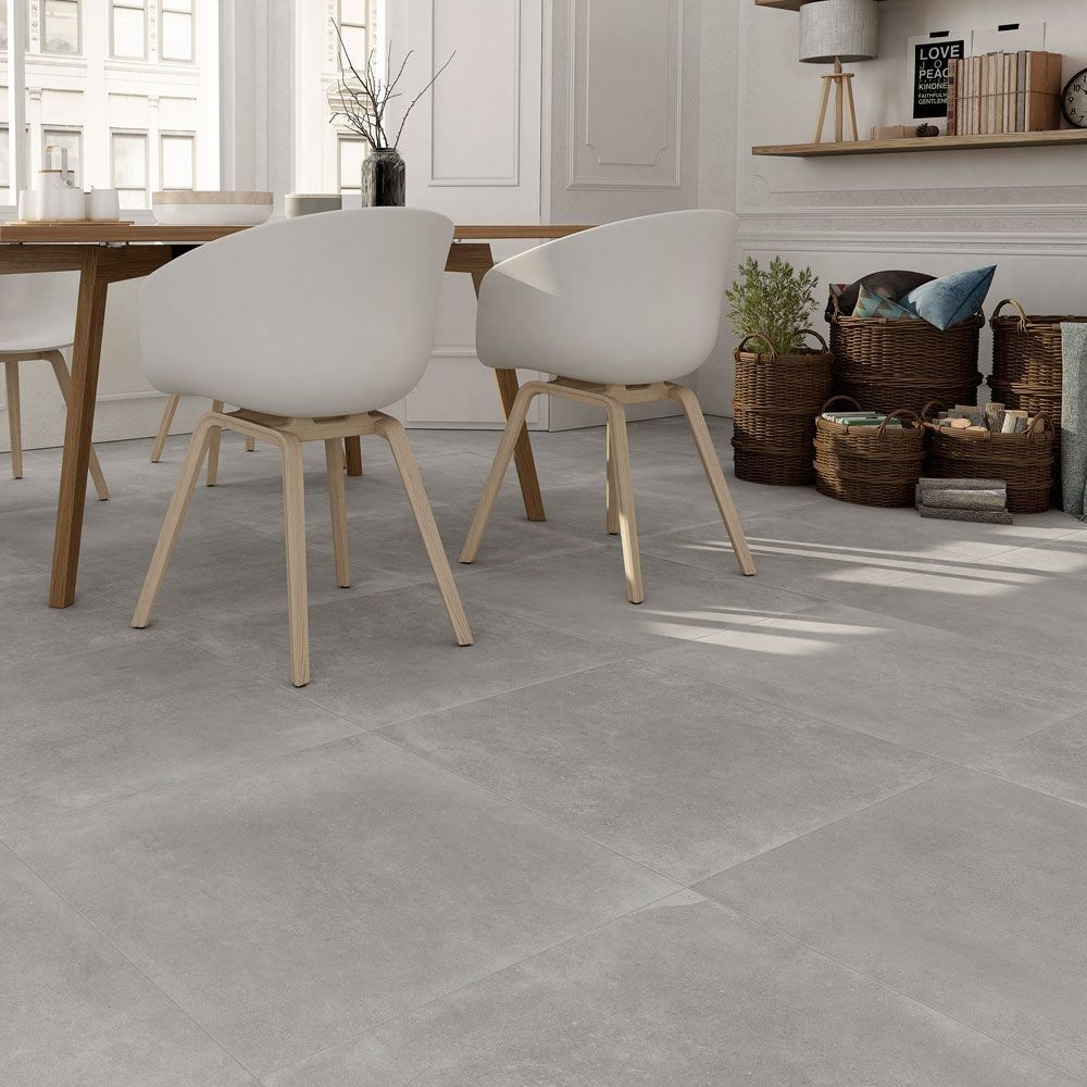 Opus Cinereous Grey Concrete Effect Tiles Grey Tiles Living Room Tile Floor Living Room Dining Room Floor