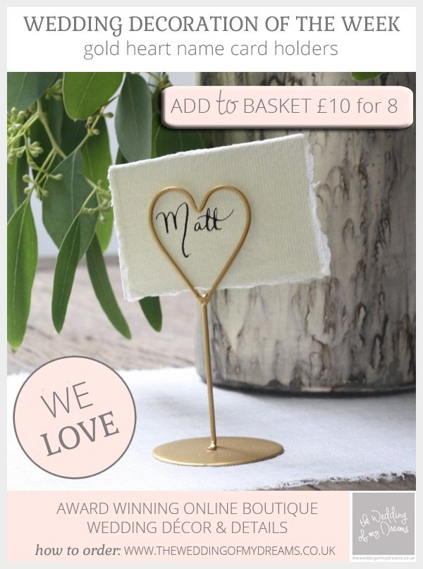 Gold Place Card Holders For Weddings