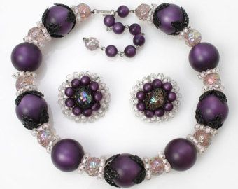 HOBE signed big purple and small pink beads Necklace and Earrings moonglow lucite AB baroque japanned filigree 1950s VINTAGE