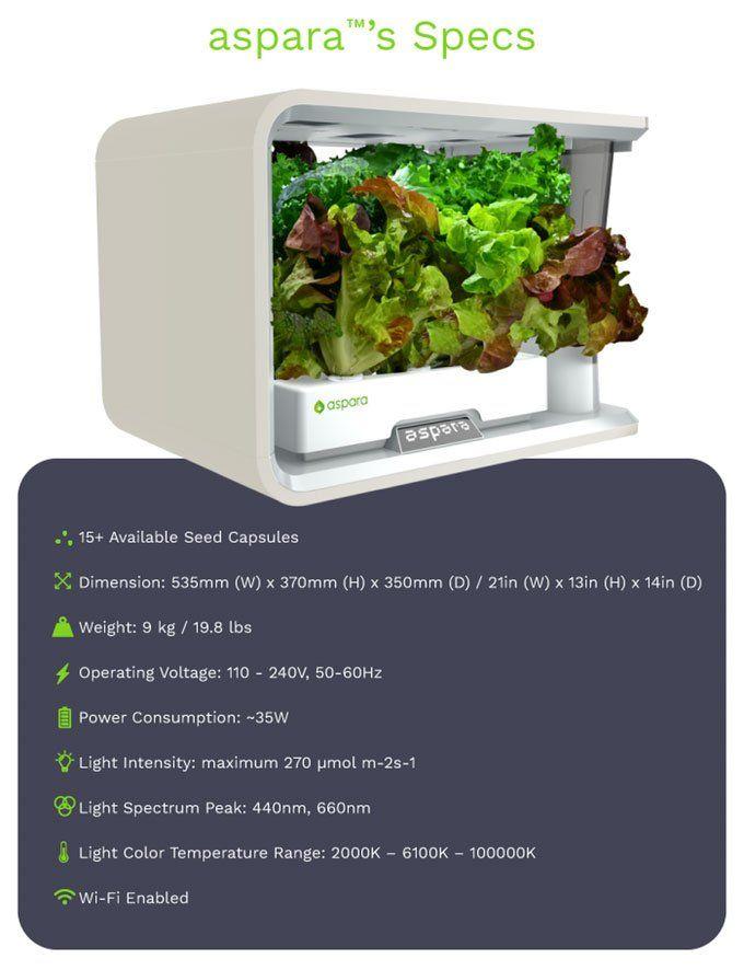 Aspara™ Specifications Growing Vegetables Indoor Garden 400 x 300