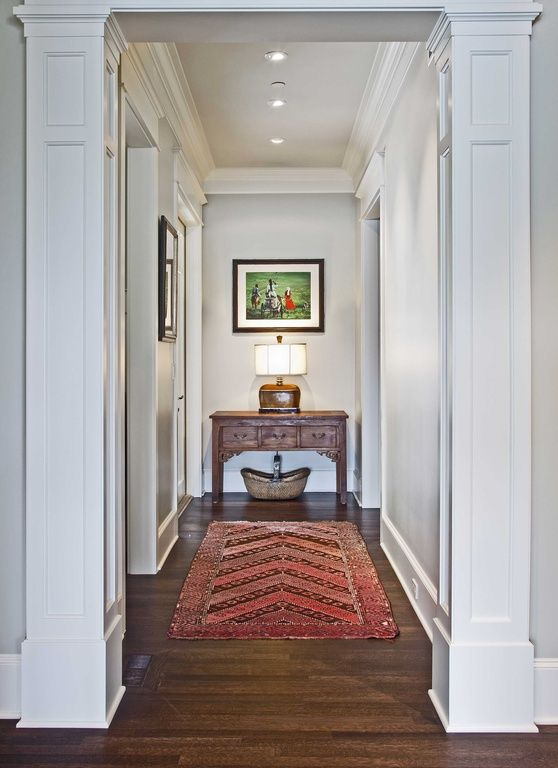 Traditional Hallway With Recessed Lighting Paint 1 Non Tapered Raised Panel Fypon Column Wrap In 2019 House Design Interior Columns