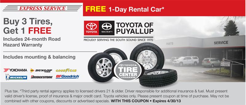 Tires Service Coupon Car Rental Party Rentals Toyota