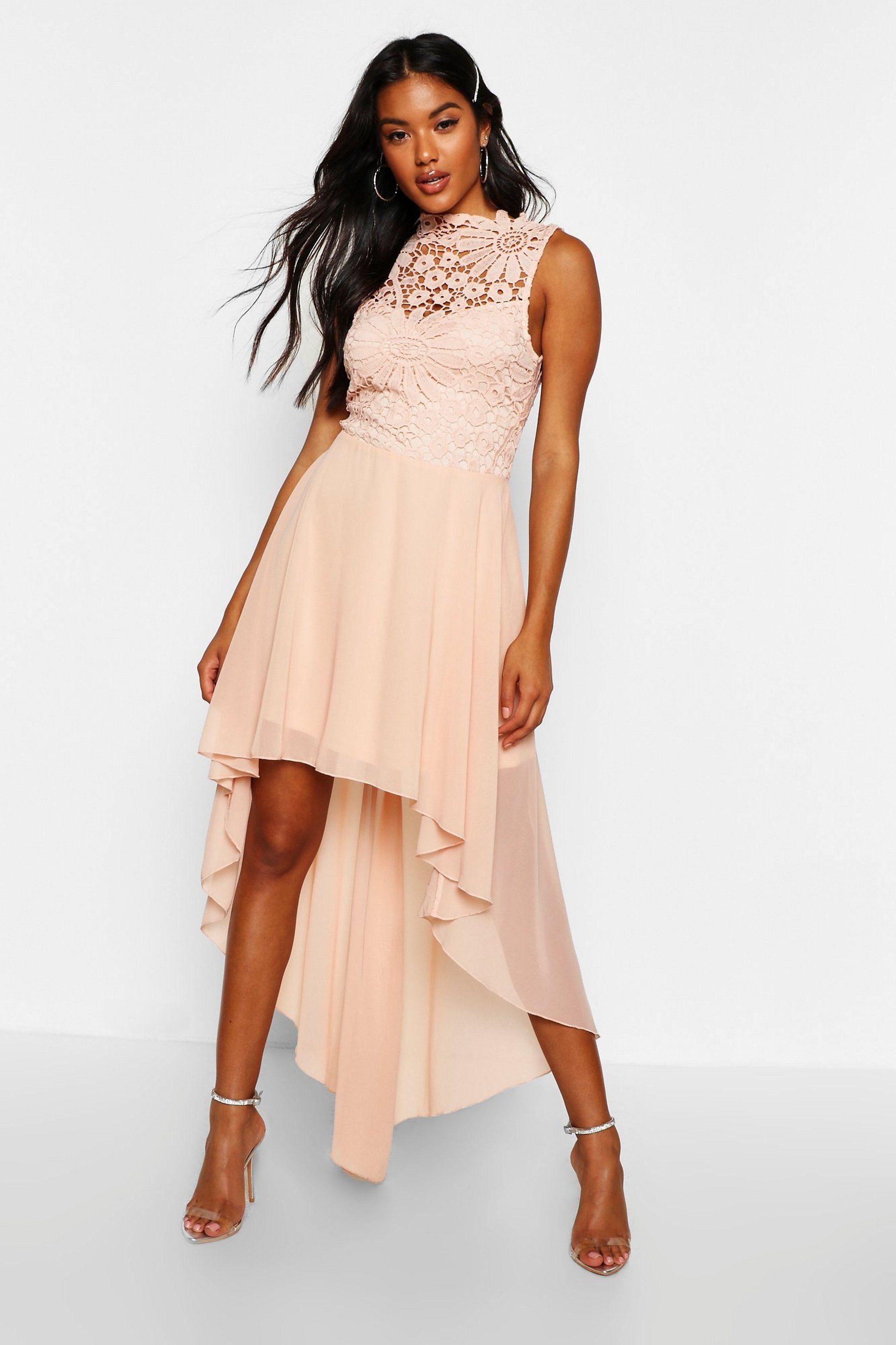 Boutique lace chiffon dip hem bridesmaid dress boohoo