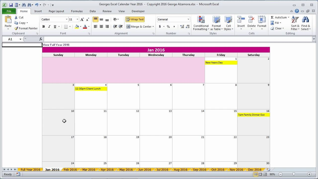 Excel 2016 calendar template. Georges Excel Calendar Year 2016 ...