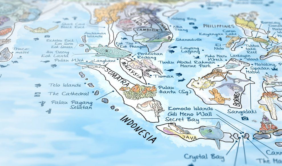 Illustrated world map with the best dive sites and diving - best of world map japan ecuador