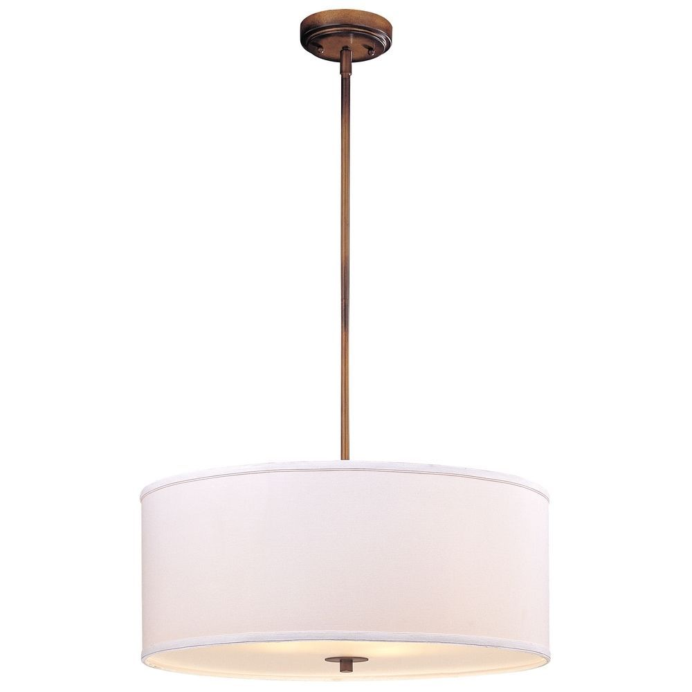 Large Bronze Drum Pendant Light With White Shade With Images