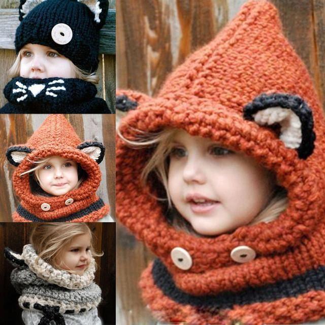 da5ee5f0e00 style Girls Red Fox Cowl Hood Hand Knit Super Warm add to a Halloween  Costume Wear thru Fall Winter Hat Outerwear Kids Children s  foxcostumes   animalhats ...