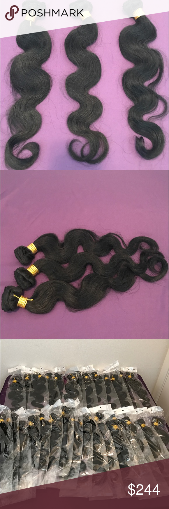 """18 MALAYSIAN REMY BODY WAVE HUMAN HAIR BUNDLE BLACK, CAN BE DYED, NO TANGLE, NO SHED, SOFT AND SILKY, 200 DEGREES WHEN FLAT IRONING OR CURLING HAIR.. 3 BUNDLES IN BUNDLE Accessories Hair Accessories"