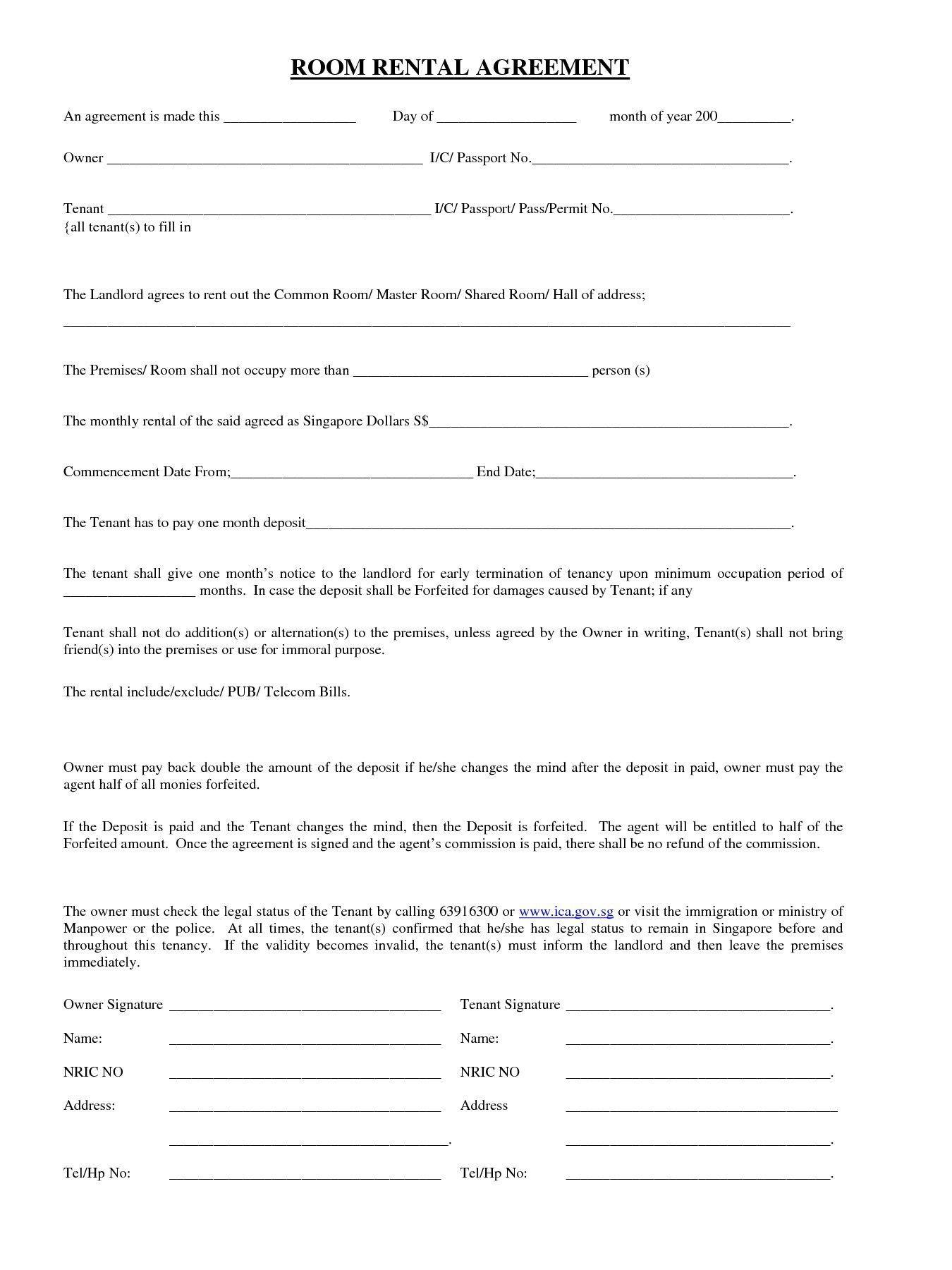 Blank Rental Agreement Template Room Rental Agreement Rental Agreement Templates Rental Application