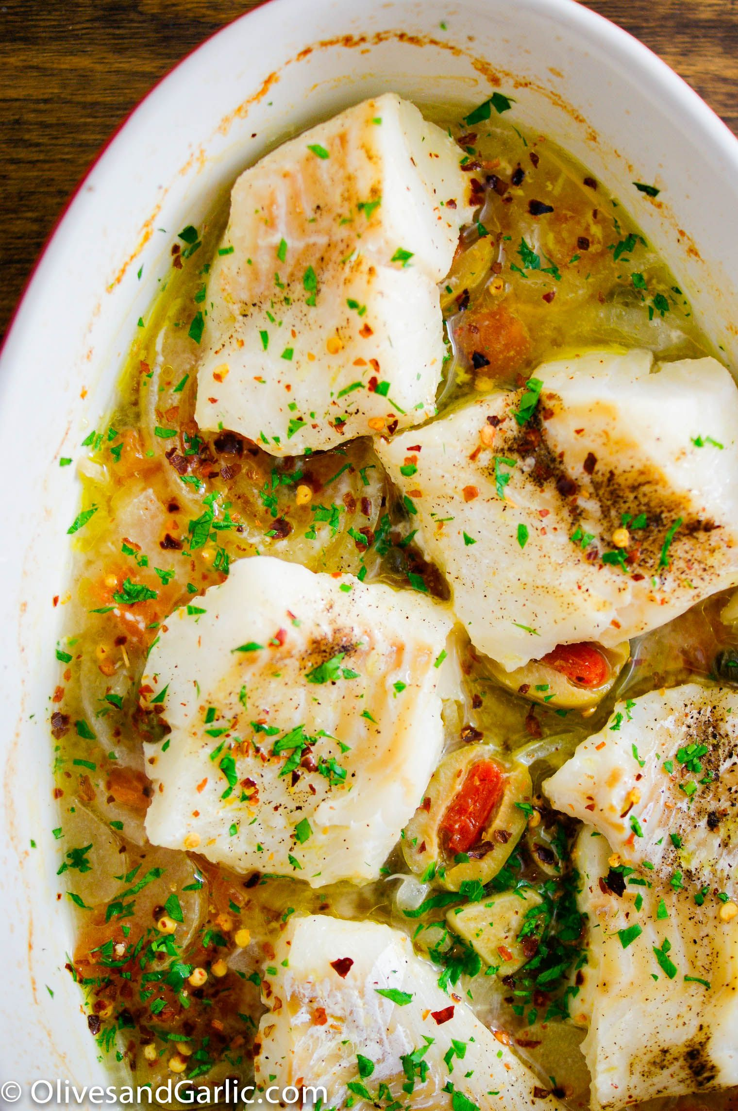 Roasted Cod With Capers Spanish Olives Seafood Recipes Roasted Cod Recipes