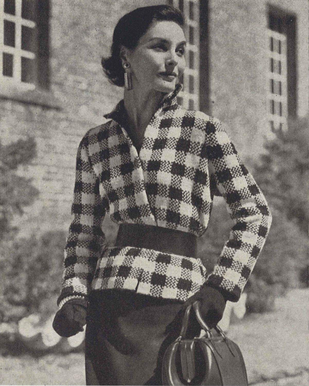 Orléans Jacket • 1950s Fall / Winter Checked Knitting Top Sweater ...