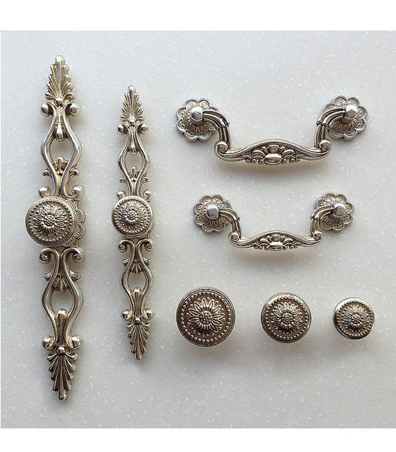 French Shabby Chic Dresser Drawer Pulls Handles / Antique Silver Kitchen Cabinet  Pull Handle Knobs Furniture Hardware - French Shabby Chic Dresser Drawer Pulls Handles / Antique Silver