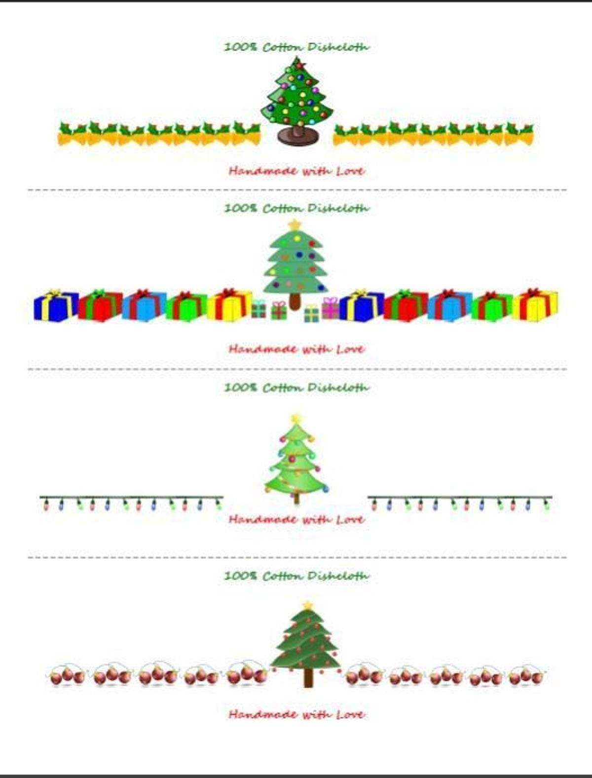 Christmas Tree Dishcloth Labels Wrappers | Crochet and knitting ...