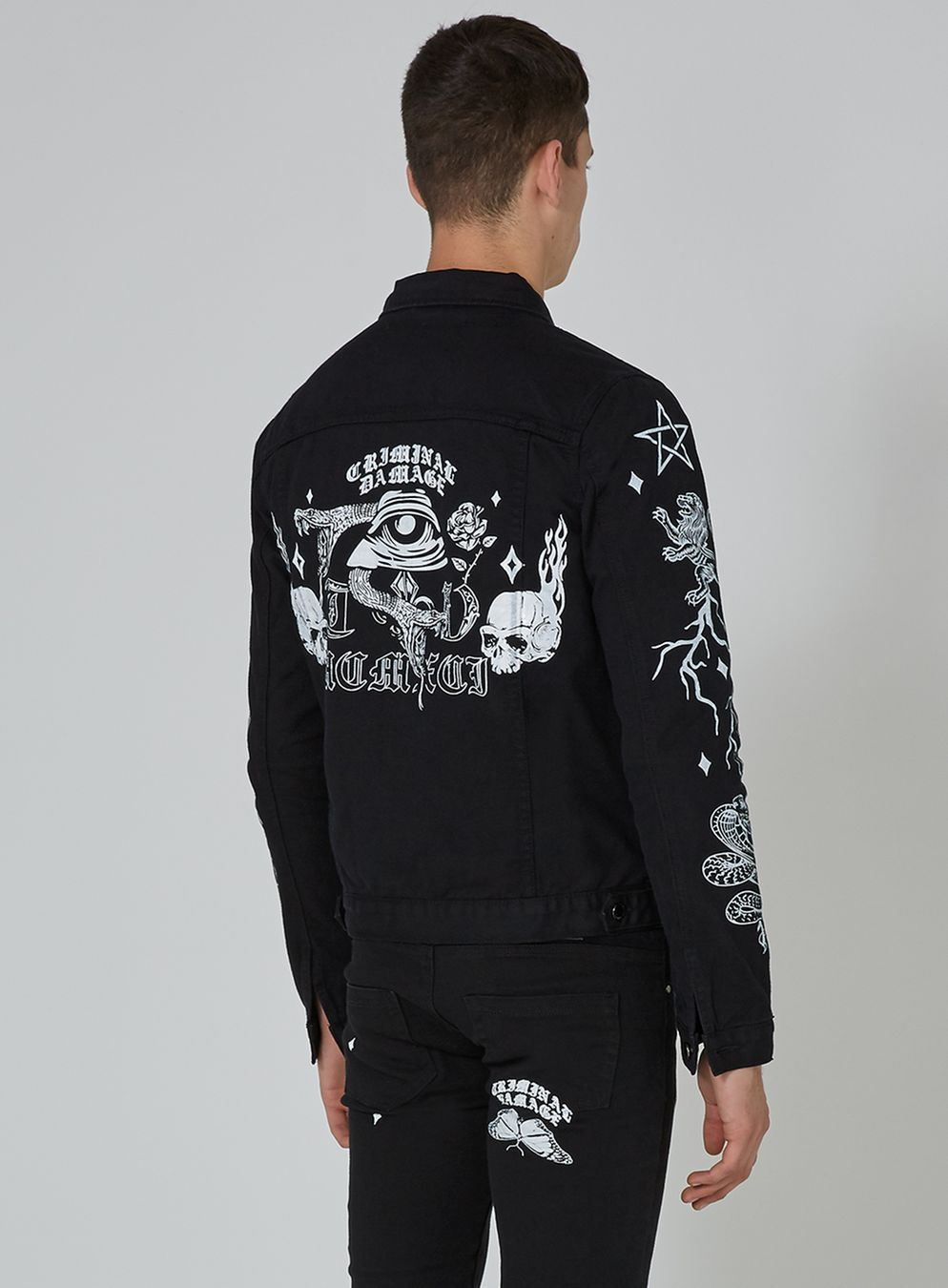 baffa229ff CRIMINAL DAMAGE S Black Printed Denim Jacket - New In - New In ...