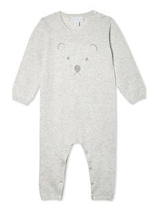 c301be0b8480 THE LITTLE WHITE COMPANY Bear face cotton baby-grow Newborn-24 months