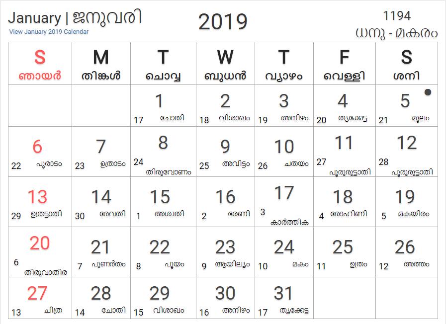 November malayalam calendar 2019