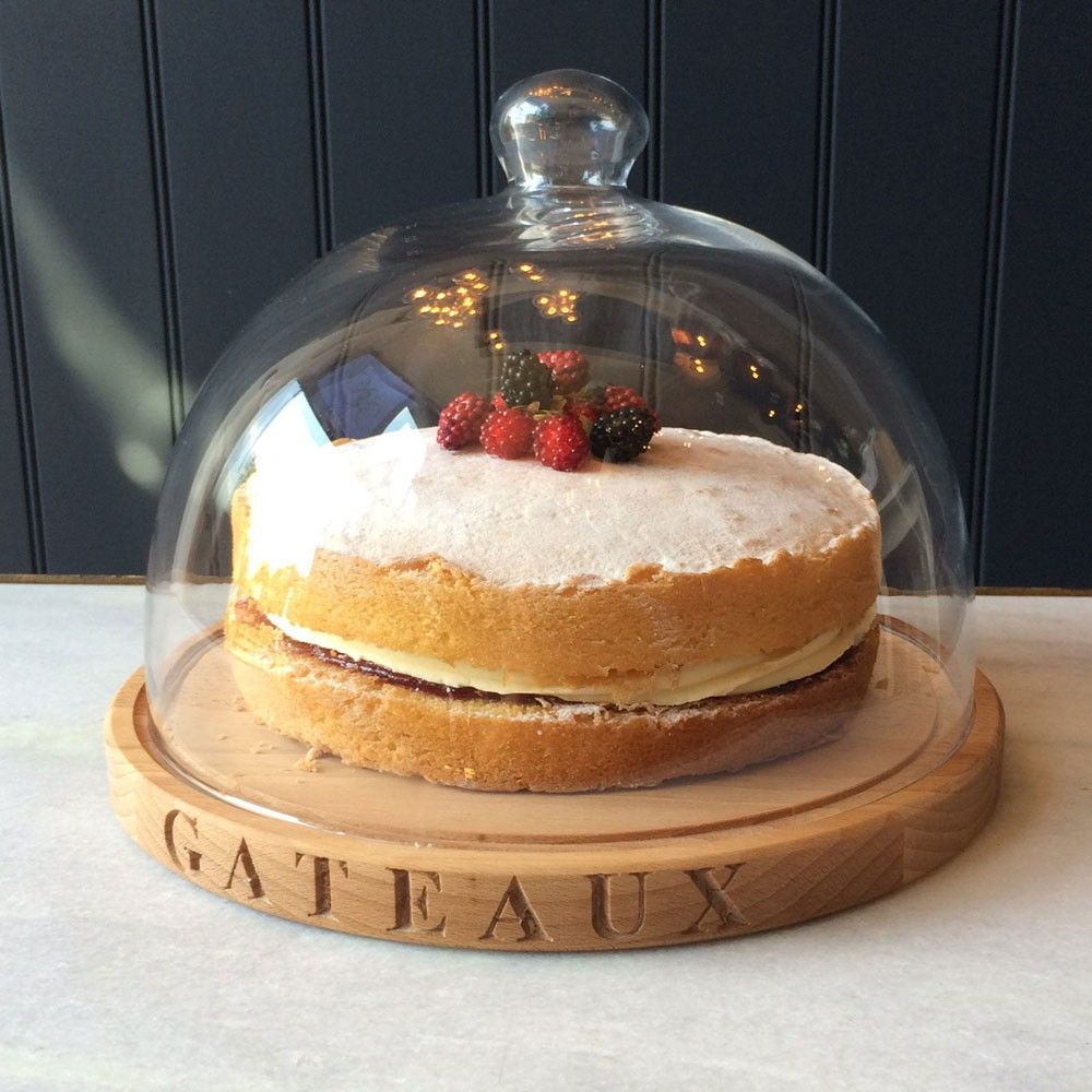 Create A Real Show Stopping Centrepiece With Our Stunning Beech Wood Cake Board And Gl Dome Filled Delicious Homemade Cakes Pastries
