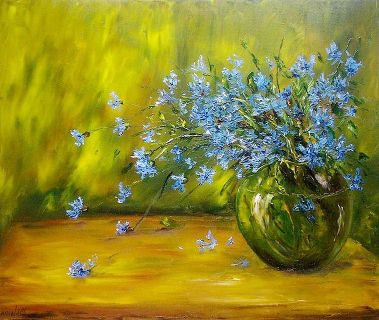 Cuadros modernos pintura moderna al leo flores arte - Cuadros flores modernas ...