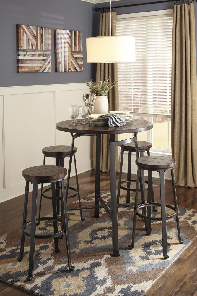 Challiman Round Dining Room Bar Table & 4 Tall Stools ...