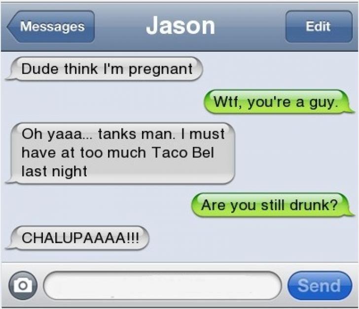 TextMessageLOL.com Taco Bell Made Him Pregnant