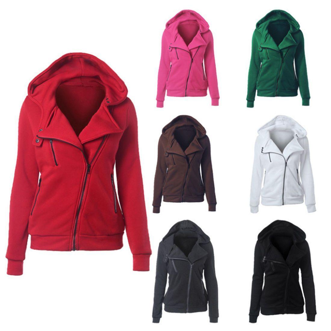 c7928b00b56 Women S Casual Zipper Hoody Hoodies Long Sleeve Sweatshirt Pullover Jumper  Coat